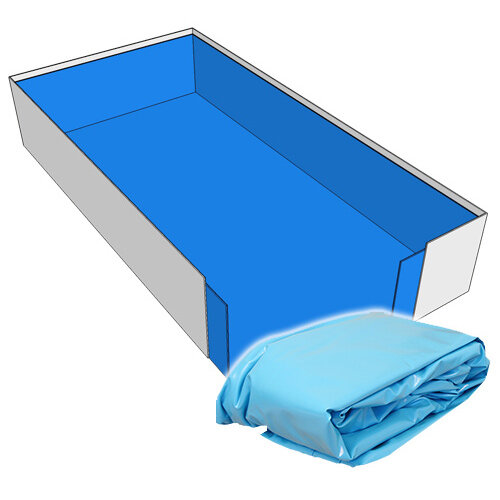 Poolfolie Rechteck Pool 500 x 300 x 150 cm - 0,8 mm blau