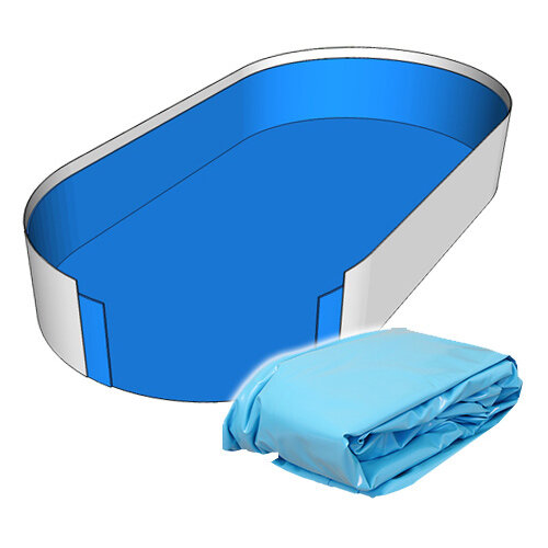 Poolfolie Ovalform Pool 916 x 460 x 150 cm - 0,8 mm blau mit Keilbiese