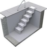 Pool Treppe Eleganz 60 | 5-stufig | Randbefestigung - lang | weiß