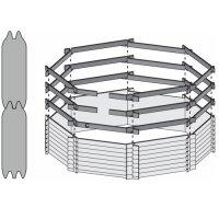Holzpool SET Achteck | 470 x 470 x 124 cm | Innenhülle 0,8 mm blau